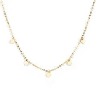 Collana cuori pendenti oro, girocollo donna in oro giallo tit 750 (18 kt), con cinque cuori di 4 mm piatti e lisci, pendenti