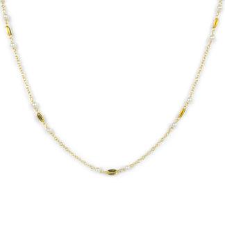 Collana oro giallo perle, girocollo lineare donna in oro giallo tit 750 (18 kt), con perle alternate ad elementi in oro giallo