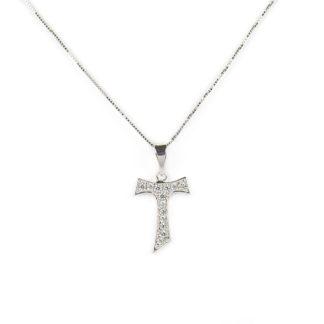 Collana ciondolo croce tau in oro bianco tit 750 (18 kt), con ciondolo rimovibile croce tau con zirconi; idea regalo cresima e comunione