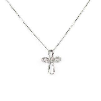 Collana ciondolo croce veneziana in oro bianco tit 750 (18 kt), con ciondolo rimovibile croce con zirconi; idea regalo cresima e comunione