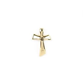 Croce Tau oro giallo, ciondolo uomo in oro giallo tit 750 (18 kt) modello croce Tau bombata, liscia e lucida; idea regalo per cresime e comunioni