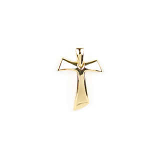Croce Tau grande oro, ciondolo uomo in oro giallo tit 750 (18 kt) modello croce Tau bombata, liscia e lucida; idea regalo per cresime e comunioni