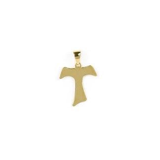 Croce Tau oro giallo, ciondolo in oro giallo tit 750 (18 kt) modello croce Taua lastra; idea regalo per cresime e comunioni