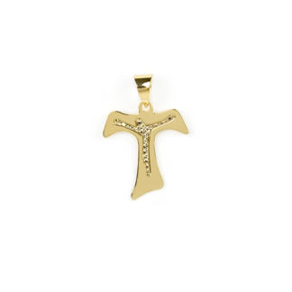 Croce Tau incisione oro, ciondolo in oro giallo tit 750 (18 kt) modello croce Taua lastra con incisione; idea regalo per cresime e comunioni