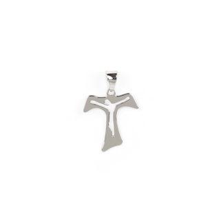 Ciondolo croce Tau oro bianco tit 750 (18 kt) modello croce Tau traforata, a lastra liscia e lucida; idea regalo per cresime e comunioni