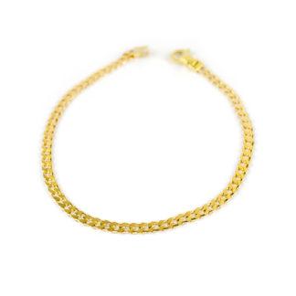 Bracciale uomo groumette oro giallo 750 lineare, catena groumette massiccia e piatta, liscia e lucida