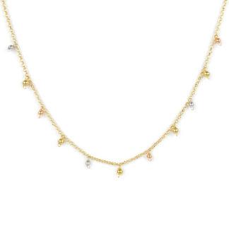 Collana centrale tre colori, girocollo in oro giallo tit 750 (18 kt), con palline in oro giallo, oro bianco, oro rosa pendenti