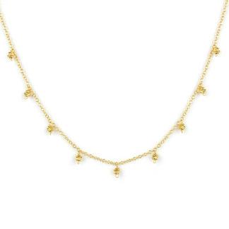 Collana oro giallo ciondolini girocollo donna in oro giallo tit 750 (18 kt), con centrale di palline slash pendenti, catena rolò tonda massiccia