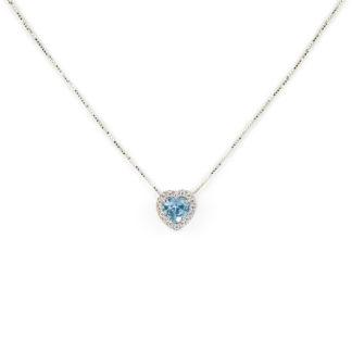Collana cuore topazio azzurro, veneziana girocollo in oro bianco tit 750 (18 kt), con cuore di topazio azzurro e cornice di zirconi