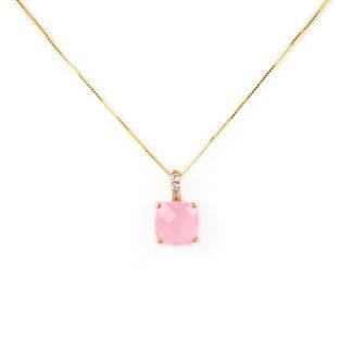Collana oro quarzo rosa, veneziana girocollo in oro giallo tit 750 (18 kt), con ciondolo composto da un quarzo rosa quadrato con zirconi