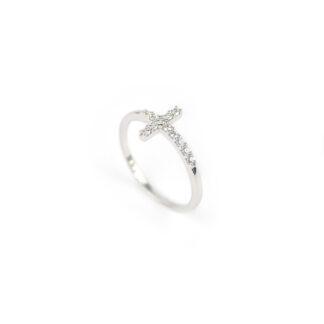 Anello croce oro bianco, anello donna in oro bianco 750 con croce di zirconi, larghezza della croce 9 mm;misura anello 15