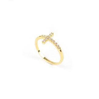 Anello croce zirconi oro, anello donna in oro giallo 750 con croce di zirconi, larghezza della croce 9 mm;misura anello 13