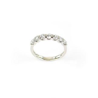 Anello fedina oro zirconi, anello donna modello fedina in oro bianco 750, larga 3 mm, con sette zirconi; misura anello 13