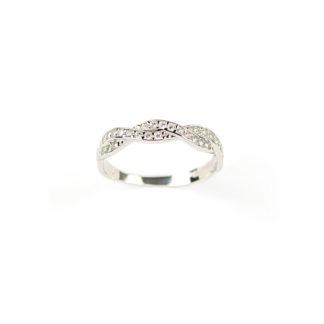 Anello fedina treccia oro, anello donna modello treccia in oro bianco 750 18kt, larga 3,65 mm con zirconi, misura anello 13
