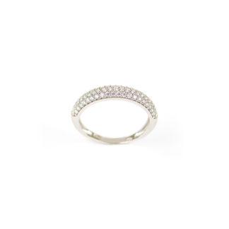 Anello pavè zirconi oro, anello donna modello fedina in oro bianco 750, larga 3,99 mm, con pavé di zirconi; misura anello 13