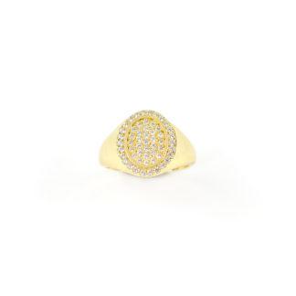 Anello oro chevalier ovale per dito mignolo in oro giallo 750, misura 8, con centrale ovale di zirconi bianchi e cornice di zirconi bianchi