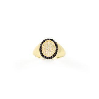 Anello chevalier oro zirconi donna per dito mignolo in oro giallo 750, misura 11, con centrale ovale di zirconi bianchi e cornice di zirconi neri