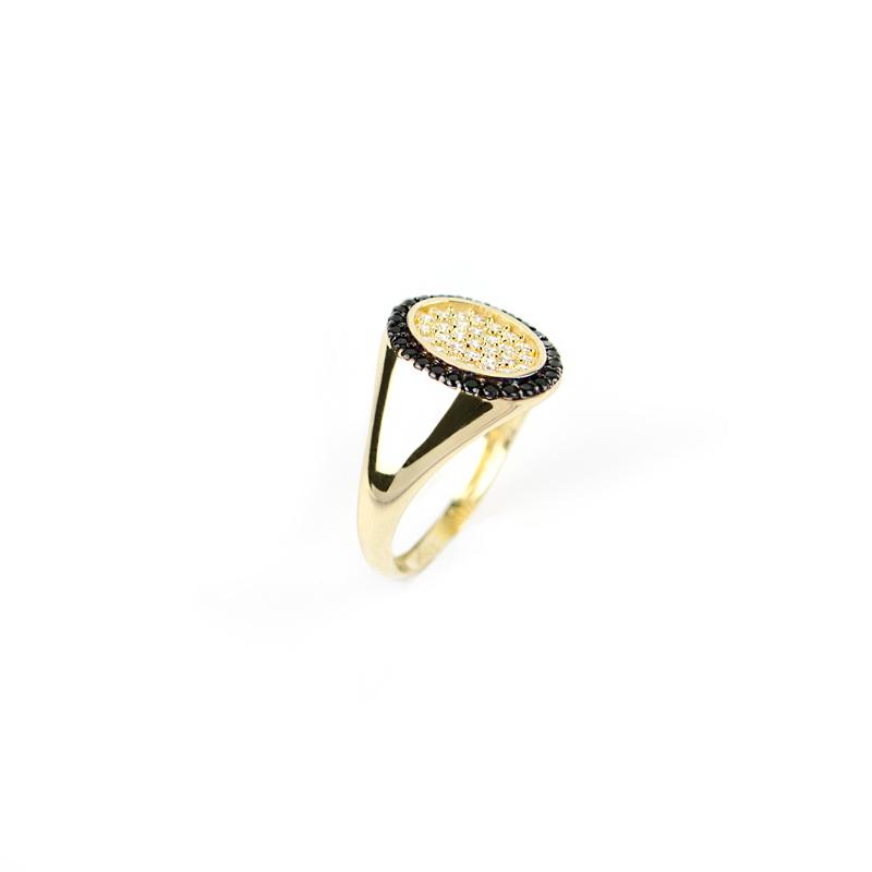 Anello mignolo chevalier ovale con zirconi neri in oro ...