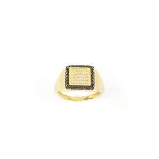 Anello oro chevalier quadrato per dito mignolo in oro giallo 750, misura 10, con centrale quadrato di zirconi bianchi e cornice di zirconi neri