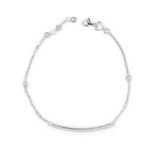 Bracciale barretta zirconi donna, braccialetto in oro bianco 750 con barretta curva e zirconi incassati; catena rolò ovale massiccia