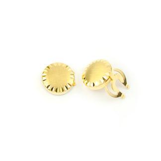 Copribottoni uomo in oro giallo tit 750 (18 kt), copribottoni tondi, scatolati, bombati e satinati; copribottoni classici ed eleganti