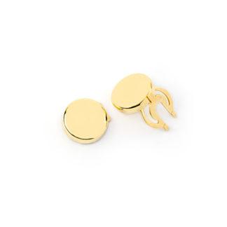 Copribottoni oro camicia uomo in oro giallo tit 750 (18 kt) tondi, scatolati, bombati, lisci e lucidi; copribottoni classici ed eleganti
