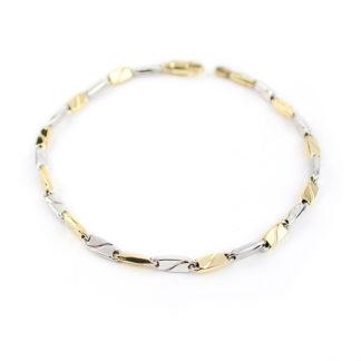 Bracciale uomo oro bicolore, in oro bianco e giallo 750, lineare, catena a canna vuota, liscia e lucida, di larghezza 3,50 mm