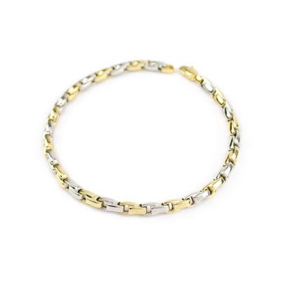 Bracciale lineare uomo oro, bracciale in oro bianco e giallo 750, lineare, catena a canna vuota, liscia e lucida, di larghezza 3,90 mm