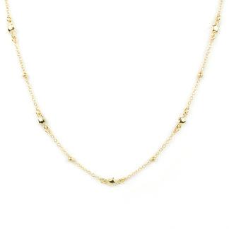 Collana donna stelle oro, girocollo donna in oro giallo tit 750 (18 kt) con centrale di stelline bombate e lucide alternate a palline lucide