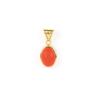 Ciondolo corallo rosso ovale, ciondolo donna in oro giallo tit 750 (18 kt) con corallo rosso ovale di provenienza Torre del Greco