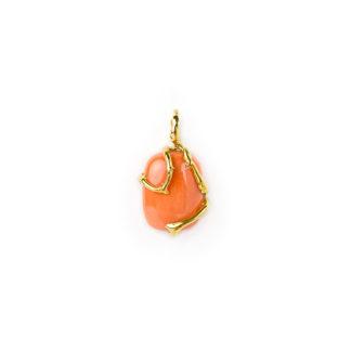 Ciondolo corallo oro giallo; ciondolo donna in oro giallo tit 750 (18 kt) con corallo rosso ovale di provenienza Torre del Greco