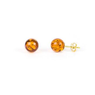 Orecchini ambra oro giallo, orecchini donna perno e farfallina in oro giallo tit 750 (18 kt) con pallina di ambra di diametro 7,70 mm