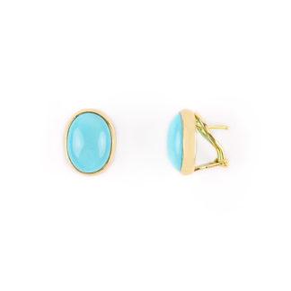Orecchini clips turchese oro, orecchini donna a clips con perno in oro giallo tit 750 (18 kt) con turchese ovale, orecchini classici estivi