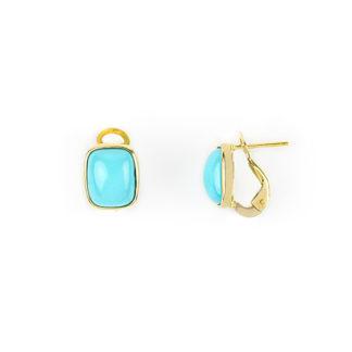 Orecchini clips turchese oro, orecchini donna modello clips con perno in oro giallo tit 750 (18 kt) con turchese rettangolare
