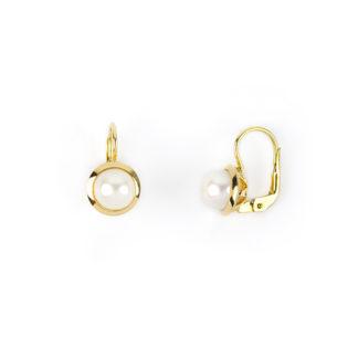 Orecchini perla oro giallo, orecchini donna classici monachella in oro giallo tit 750 (18 kt) con perla coltivata acqua dolce