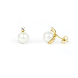 Orecchini sposa perla zircone, perno e farfallina in oro giallo tit 750 (18 kt) con perla coltivata acqua dolce su montatura con zircone