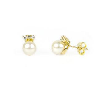 Orecchini perla zirconi oro, perno e farfallina in oro giallo tit 750 (18 kt) con perla coltivata acqua salata su montatura con tre zirconi