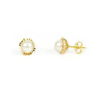 Orecchini perla oro giallo, perno e farfallina in oro giallo tit 750 (18 kt) con perla coltivata acqua dolce su montatura diamantata in oro giallo