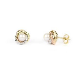 Orecchini lobo perla oro giallo tit 750 (18 kt) con perla coltivata acqua dolce su montatura diamantata lucida in oro giallo, oro rosa e oro bianco