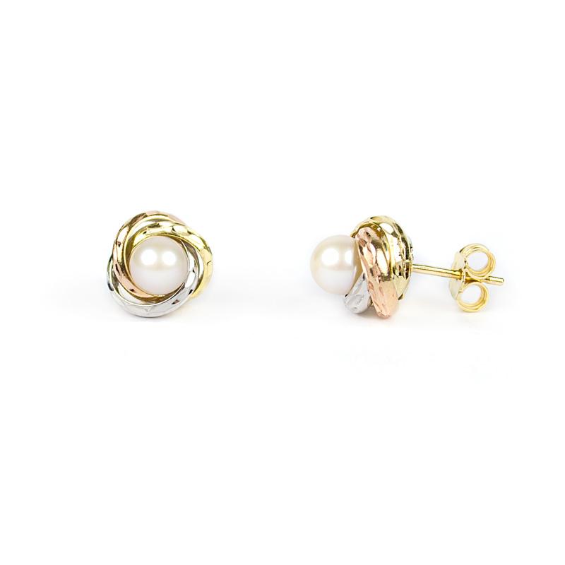 Orecchini Con Perla Su Montatura In Oro Giallo Bianco E Rosa Sari Gold