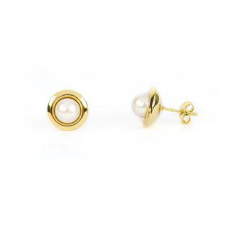 Orecchini perla lobo oro giallo tit 750 (18 kt) perla coltivata acqua dolce di diametro 6,5-7 mm su montatura lucida in oro giallo