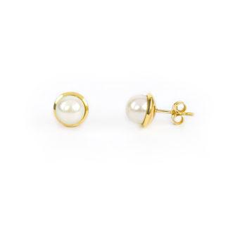Orecchini perla 7 mm oro giallo tit 750 (18 kt) perla coltivata acqua dolce di diametro 7 mm su montatura lucida in oro giallo