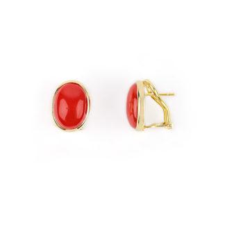 Orecchini clips corallo ovale con perno in oro giallo tit 750 (18 kt) con corallo rosso ovale, su montatura lucida in oro giallo