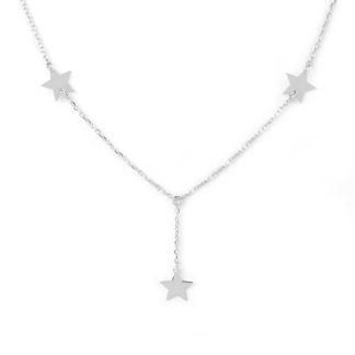 Collana girocollo a forma Y con tre stelle piatte lisce e lucide, in oro bianco tit 750 (18 kt) collana elegante regalo donna ragazza