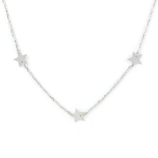 Collana girocollo donna con tre stelle piatte liscia e lucide, in oro bianco tit 750 (18 kt) elegante giovanile alla moda ragazza