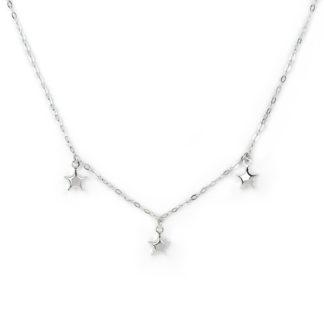 Collana girocollo con tre stelle pendenti bombate e lucide, in oro bianco tit 750 (18 kt) elegante giovanile alla moda ragazza