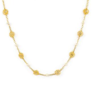 Collana perle fiori oro, girocollo in oro giallo tit 750 (18 kt) con perle 4 mm coltivate acqua dolce e fiori bombati e traforati in oro giallo
