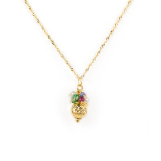 Collana ciondolo perle pietre, girocollo in oro giallo tit 750 con ciondolo rimovibile con radice di rubino radice di smeraldo, radice di zaffiro e perle