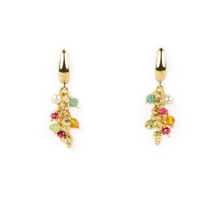 Orecchini monachella pietre colorate, orecchini monachella in oro giallo tit 750 con radice di rubino, radice di smeraldo, pietre gialle, perle