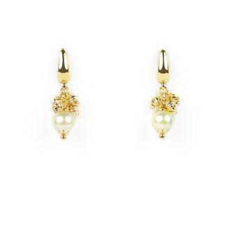 Orecchini perla monachella oro giallo tit 750 (18 kt), perla coltivata in acqua salata (akoya) e palline slash in oro giallo